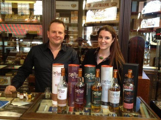 Arran whiskys tasting Philippe Bornauw and Lucie Stroesser